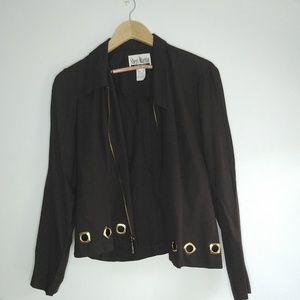 Vintage Sheri Martin Brown Cropped Blazer Gold